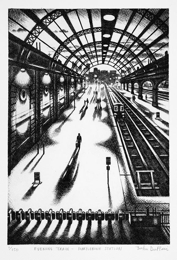 Evening Train - Marylebone Station   etching   38 x 25 cm  £195 (unframed)  £295 (framed)