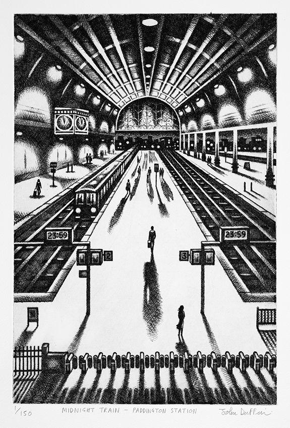 Midnight Train - Paddington Station   etching   38 x 25 cm  £195 (unframed)  £295 (framed)