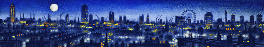 London Panorama - from Elephant and Castle SE1  Watercolour and Acrylic on Paper  15 x 84 cm  £1495