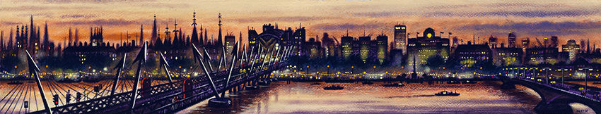 London Panorama - from Royal Festival Hall  Watercolour and Acrylic on Paper  15 x 84 cm  £1495