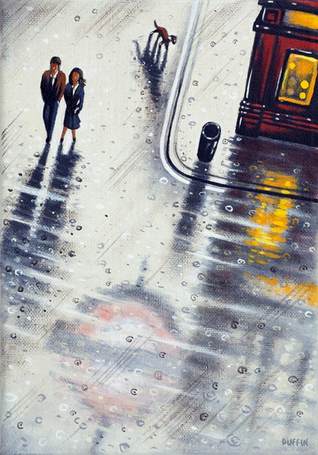 London Rain - Shower  Oil  21 x 15 cm  £495
