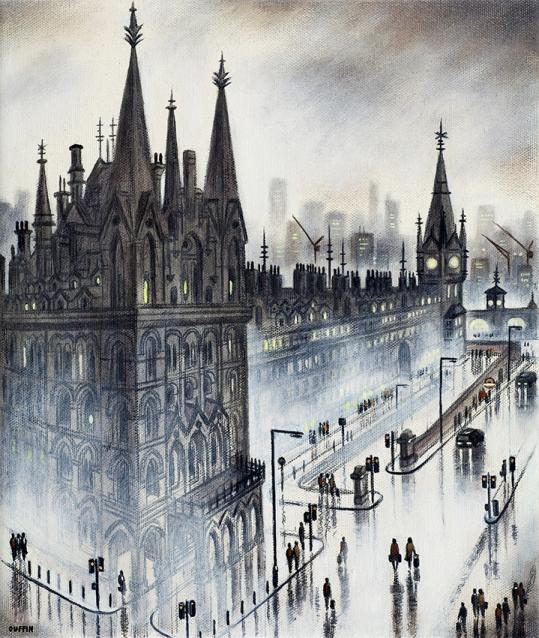 Night Train Rain - King's Cross St Pancras  Oil  30 x 25 cm  £695