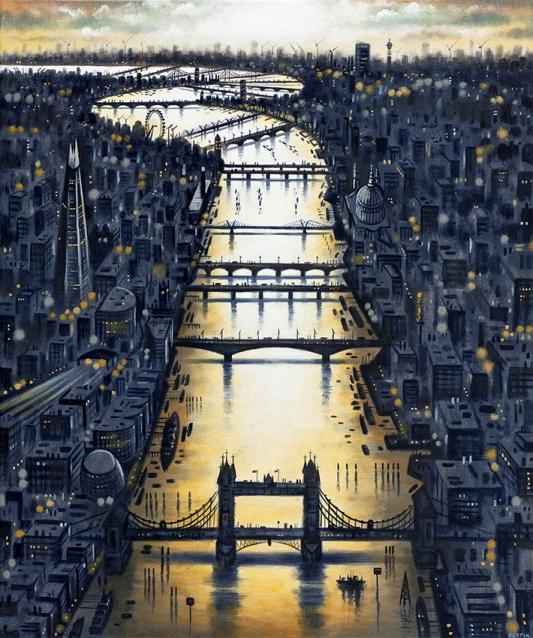 Thames Bridges - Day's End  Oil  61 x 51 cm  £1595