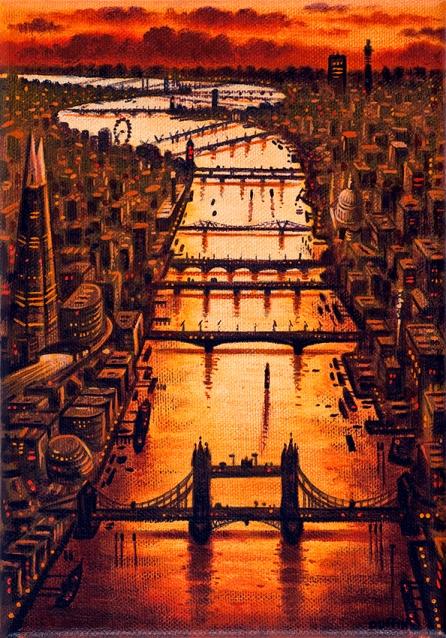 Thames Bridges East - Spring  Oil  21 x 15 cm  £495