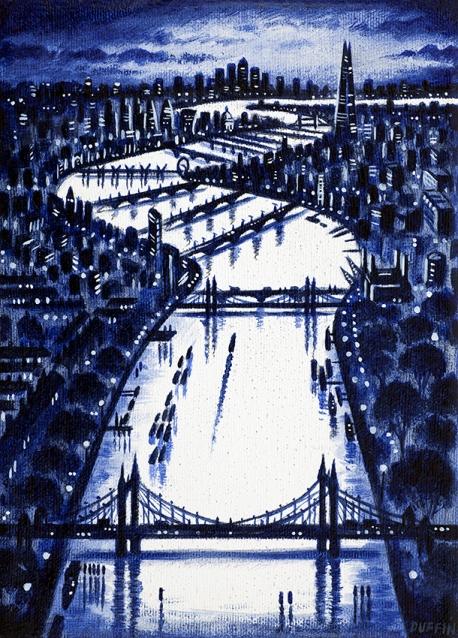 Thames Bridges East (French Ultramarine)  Oil  21 x 15 cm  £495
