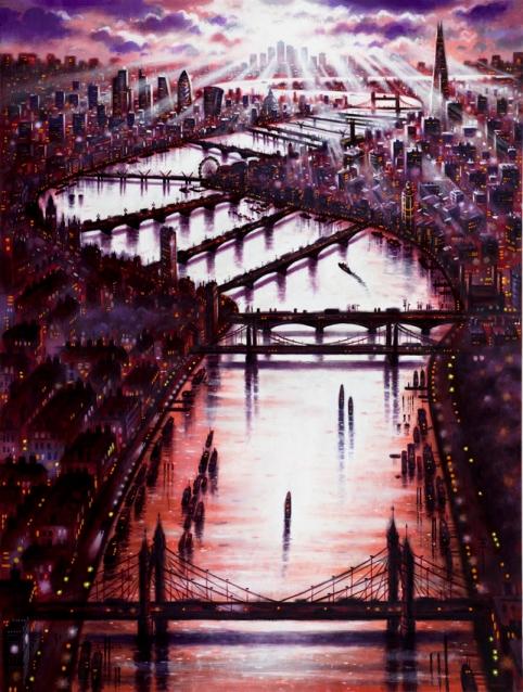 Thames Bridges East  Oil  102 x 76 cm  £3995