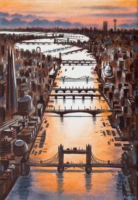 Thames Bridges Looking West - Autumn  Oil  21 x 15 cm  £495