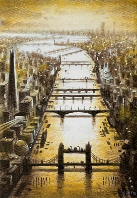 Thames Bridges Looking West - Spring  Oil  21 x 15 cm  £495