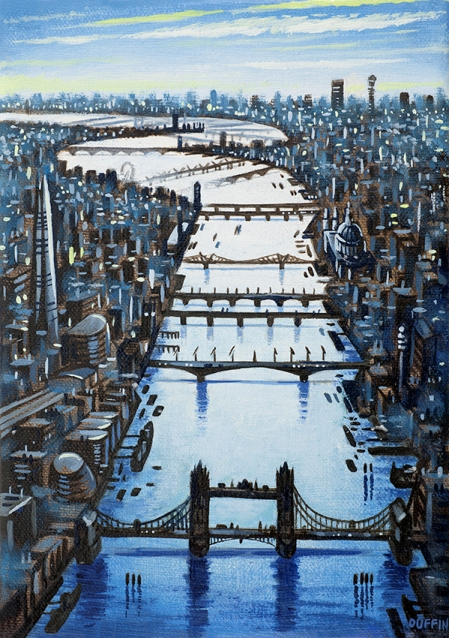 Thames Bridges Looking West - Summer  Oil  21 x 15 cm  £495