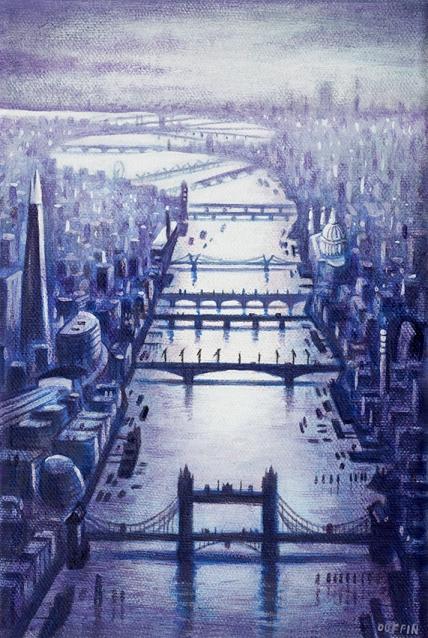 Thames Bridges Looking West - Winter  Oil  21 x 15 cm  £495