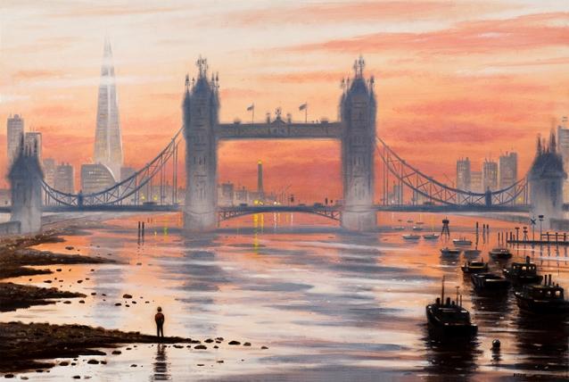 Tower Bridge Dawn  Oil  51 x 76 cm  £1995