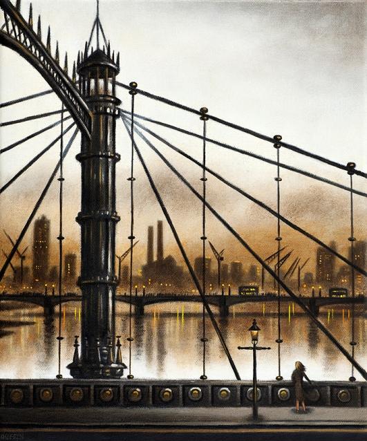 Albert Bridge Looking West  Oil  30 x 25 cm  £695
