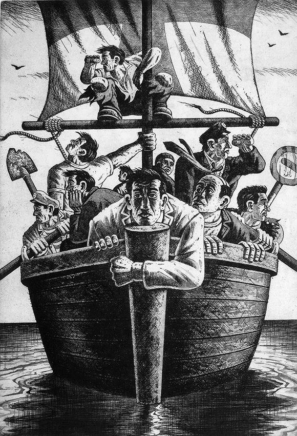 Ship of Fools   etching   56 x 38 cm  £495 (framed)  £395 (unframed)