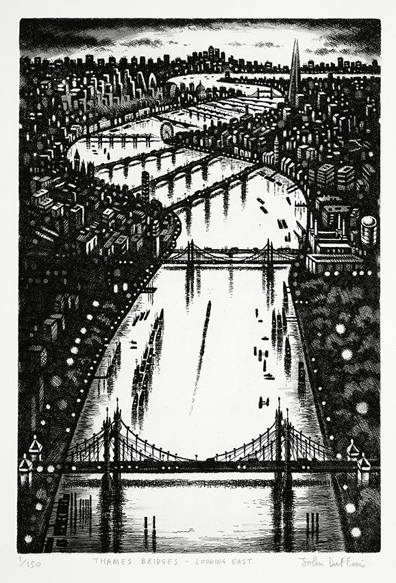 Thames Bridges - Looking East   etching   38 x 25 cm  £295 (framed)  £195 (unframed)
