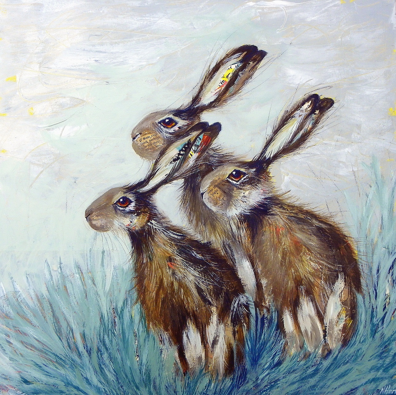 A Husk of Hares  mixed media  51 x 51cm  sold