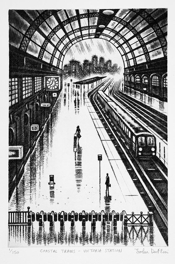 Coastal Trains - Victoria Station Etching 38 x 25 cm (15 x 10 inch) £195.00.jpg