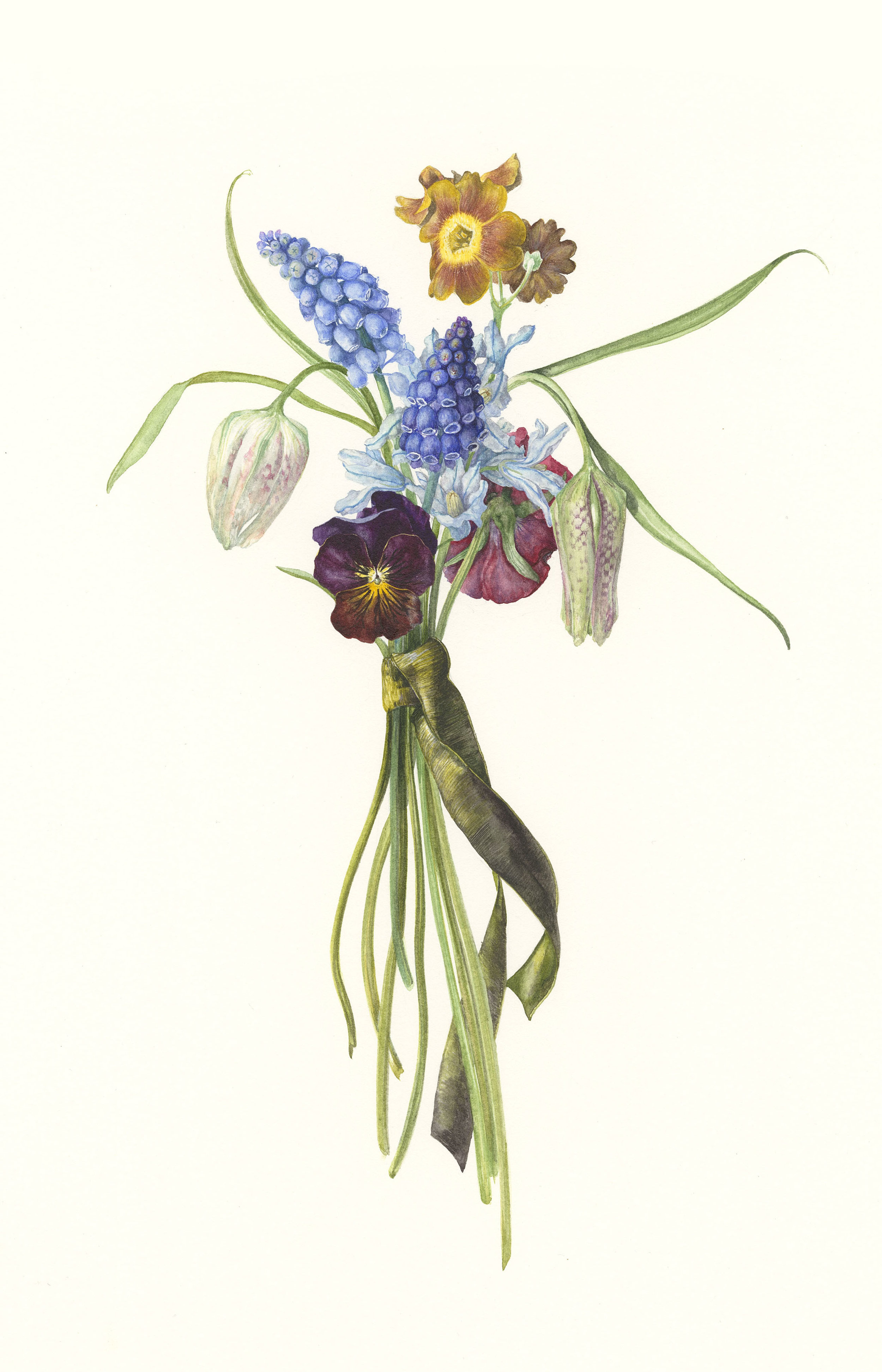Spring Posy II  watercolour on paper  23 x 35 cm image  36 x 59 cm framed  SOLD