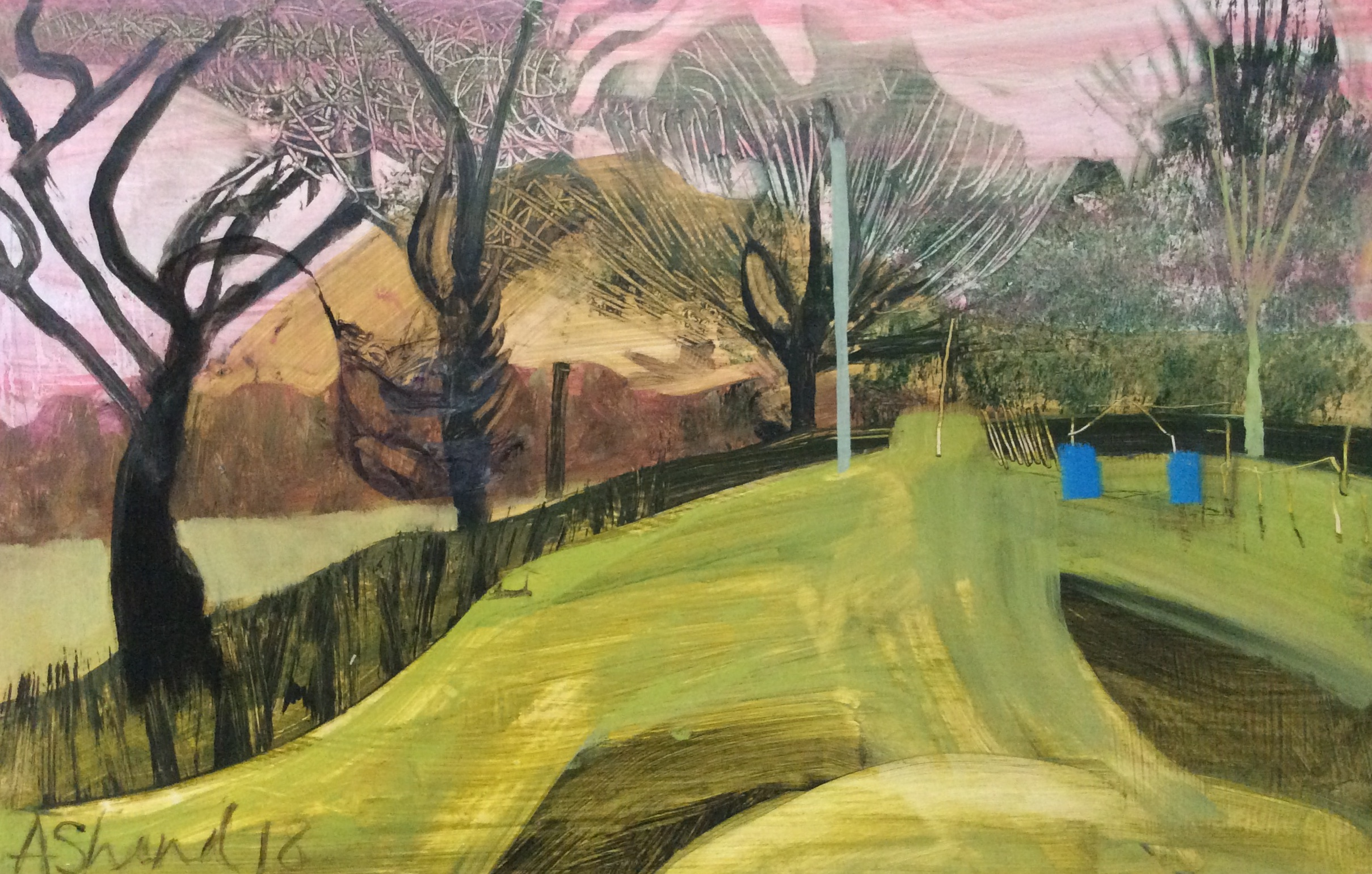 View to the Hill I  Oil on board  38x29cm  SOLD