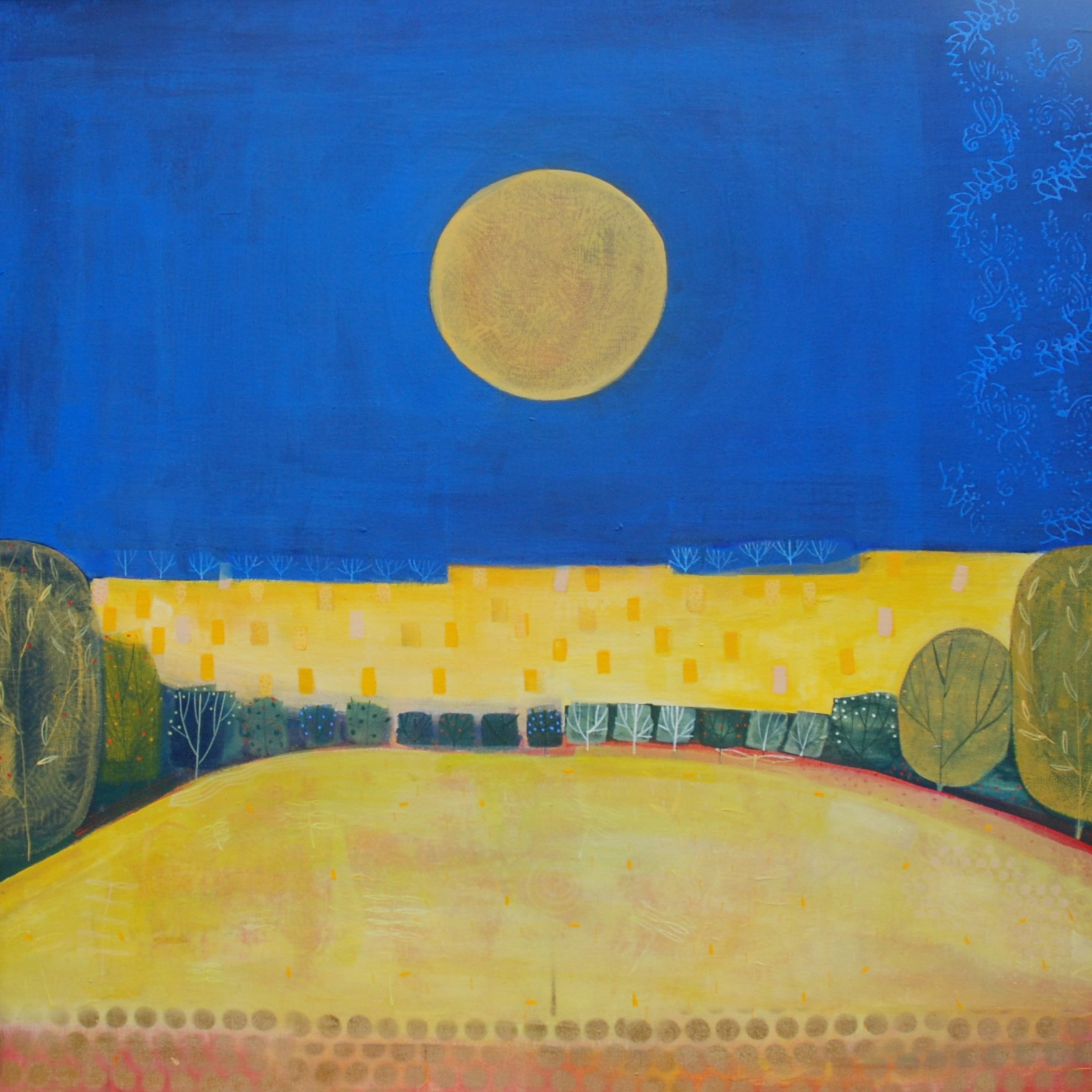 Harvest Moon  acrylic on birch ply on linen  100x100cm  SOLD
