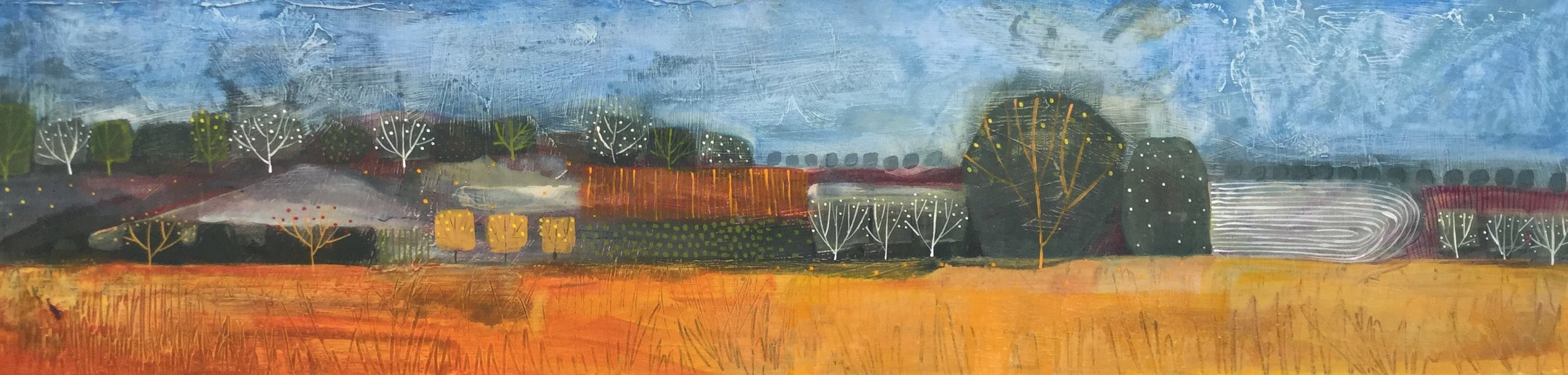 Harvest in the Valley  acrylic on board  39x130cm  £1,700