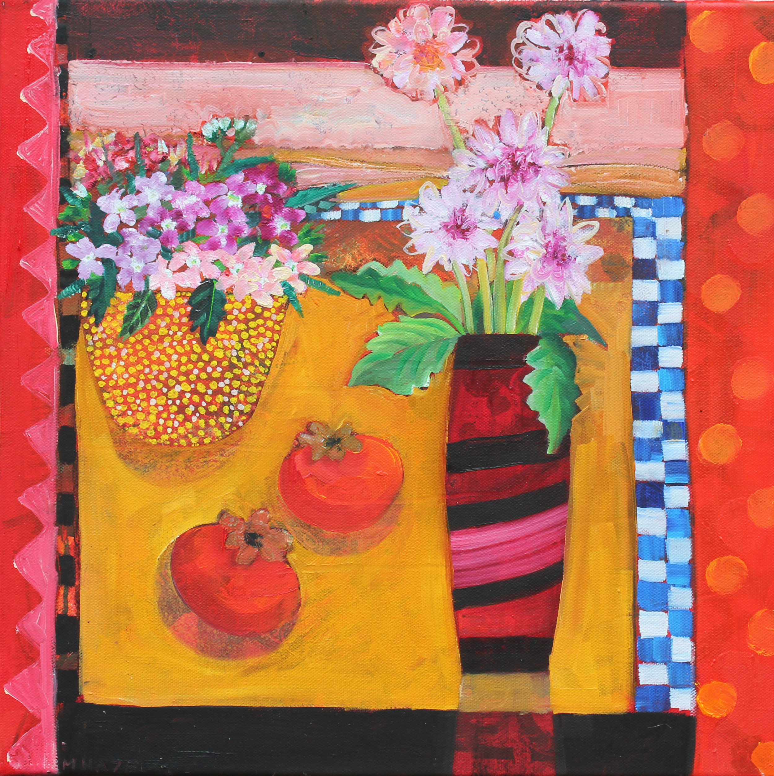 Pink flowers in red striped vase  Oil on canvas  40x40cms  £490