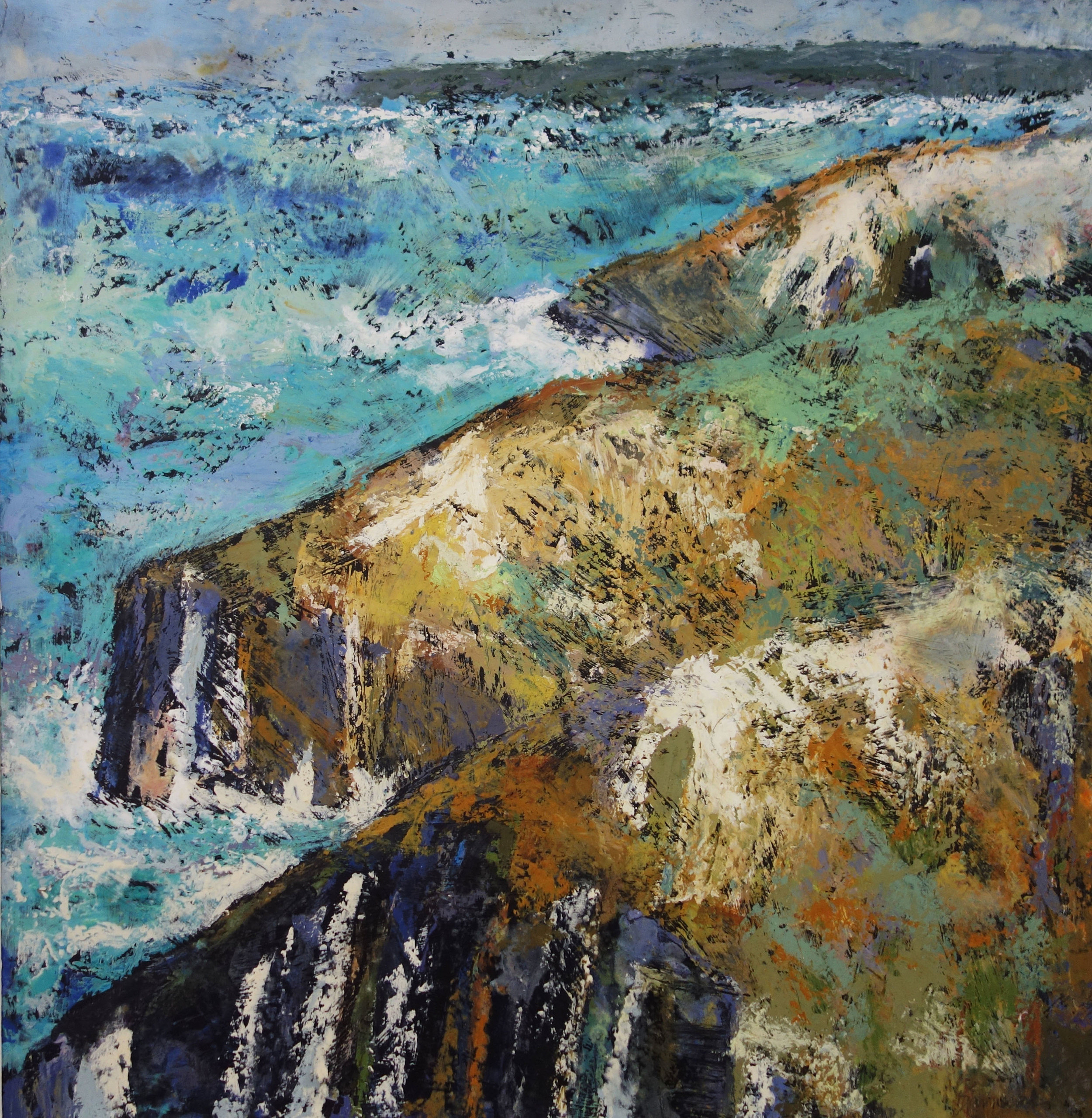 Coast  Oil based mixed media on board  75cm x 75cm  £1400
