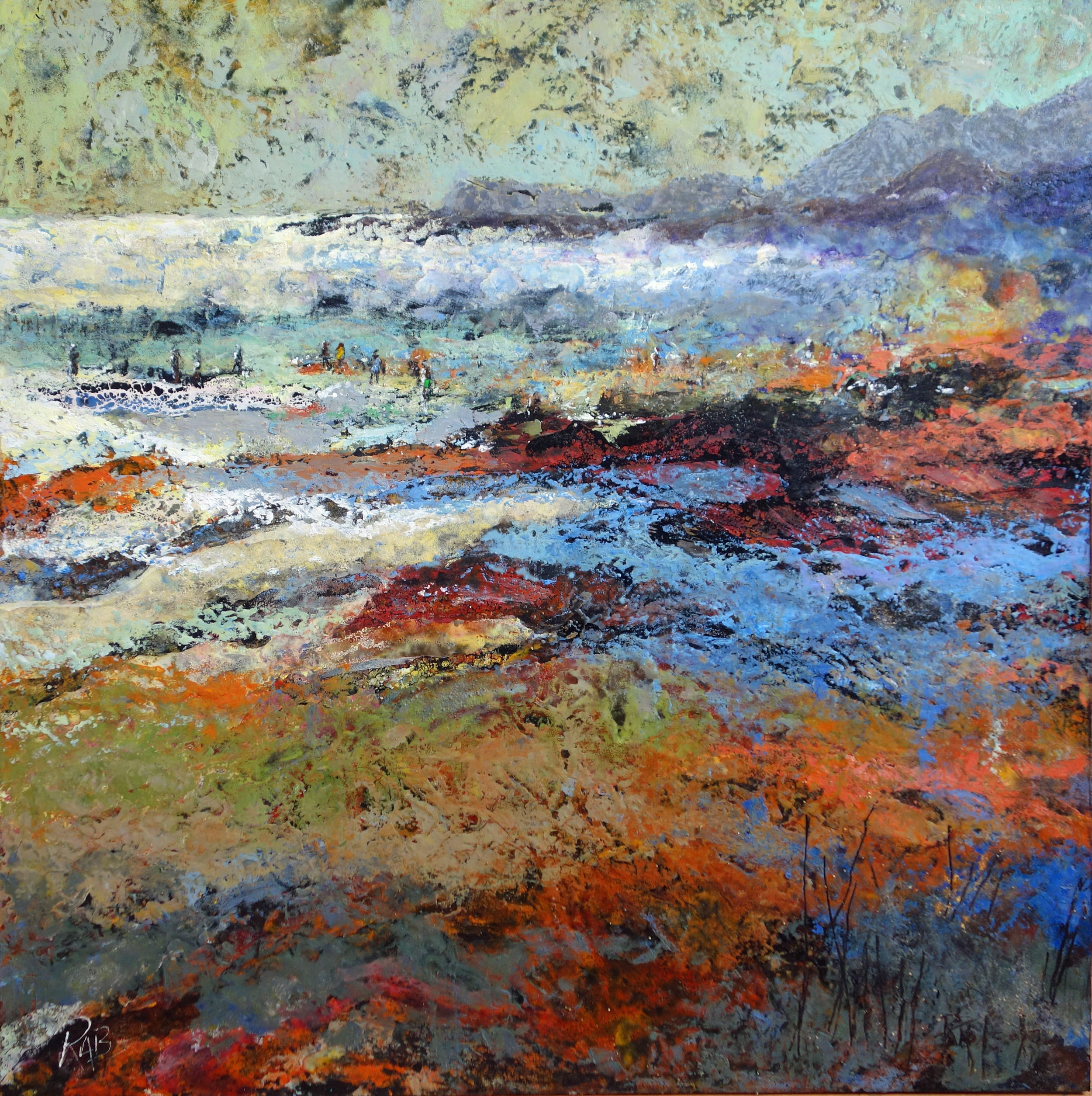The Tide Rushing In  Oil based mixed media on board  75cm x 75cm  £1400