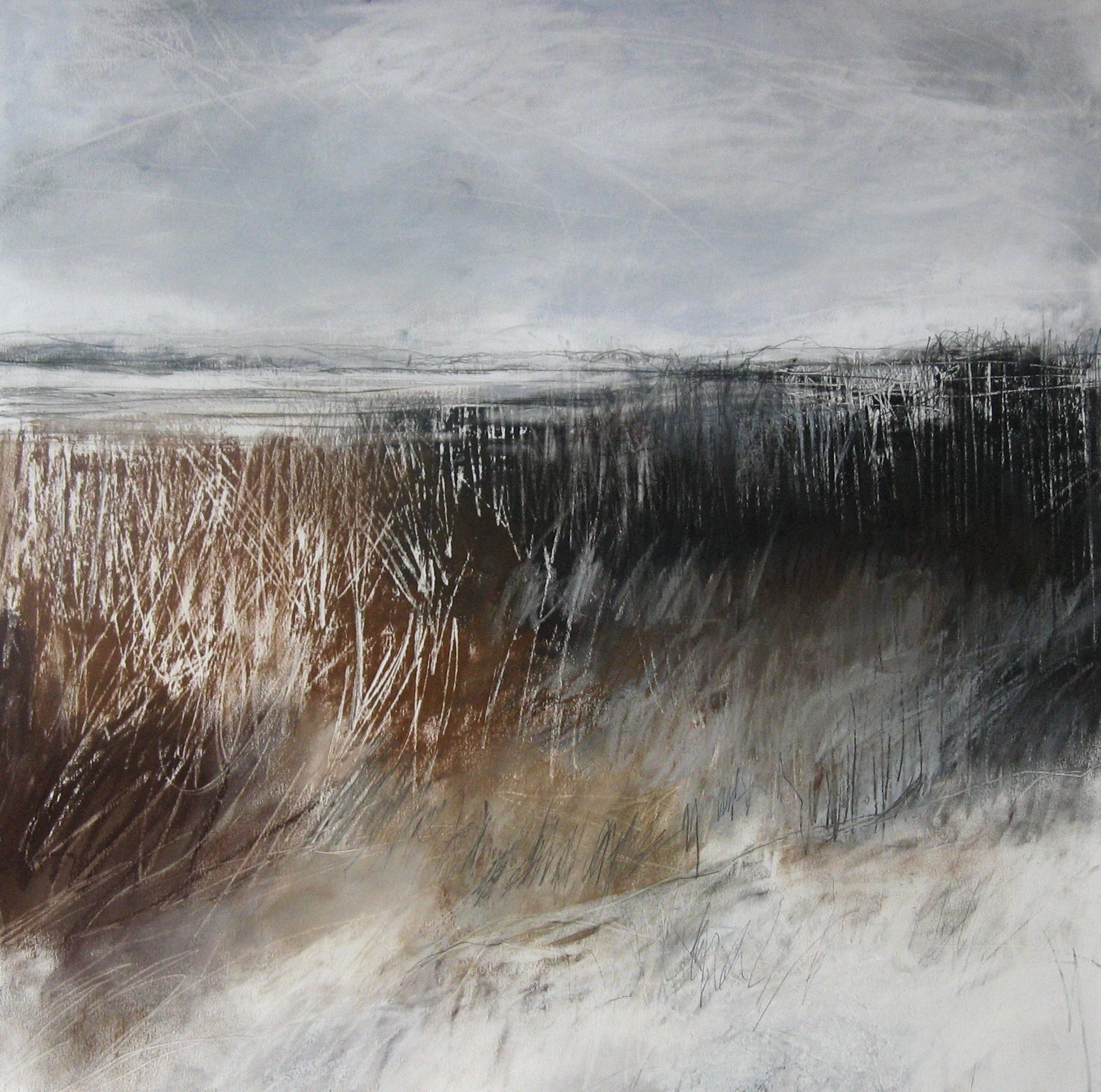 Stark Hedgerows in Winter  Pastel, Charcoal and Graphite on Paper  45cm x 45cm  sold