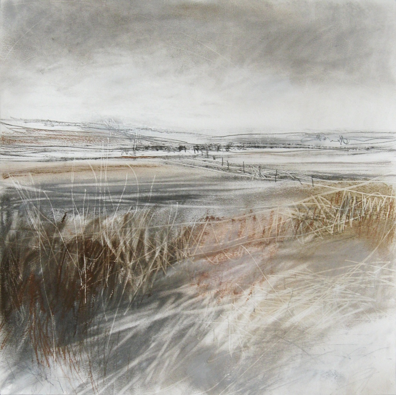 Last of the Snow at Rosebrough  Pastel, Charcoal and Graphite on Paper  34 x 34cm  sold