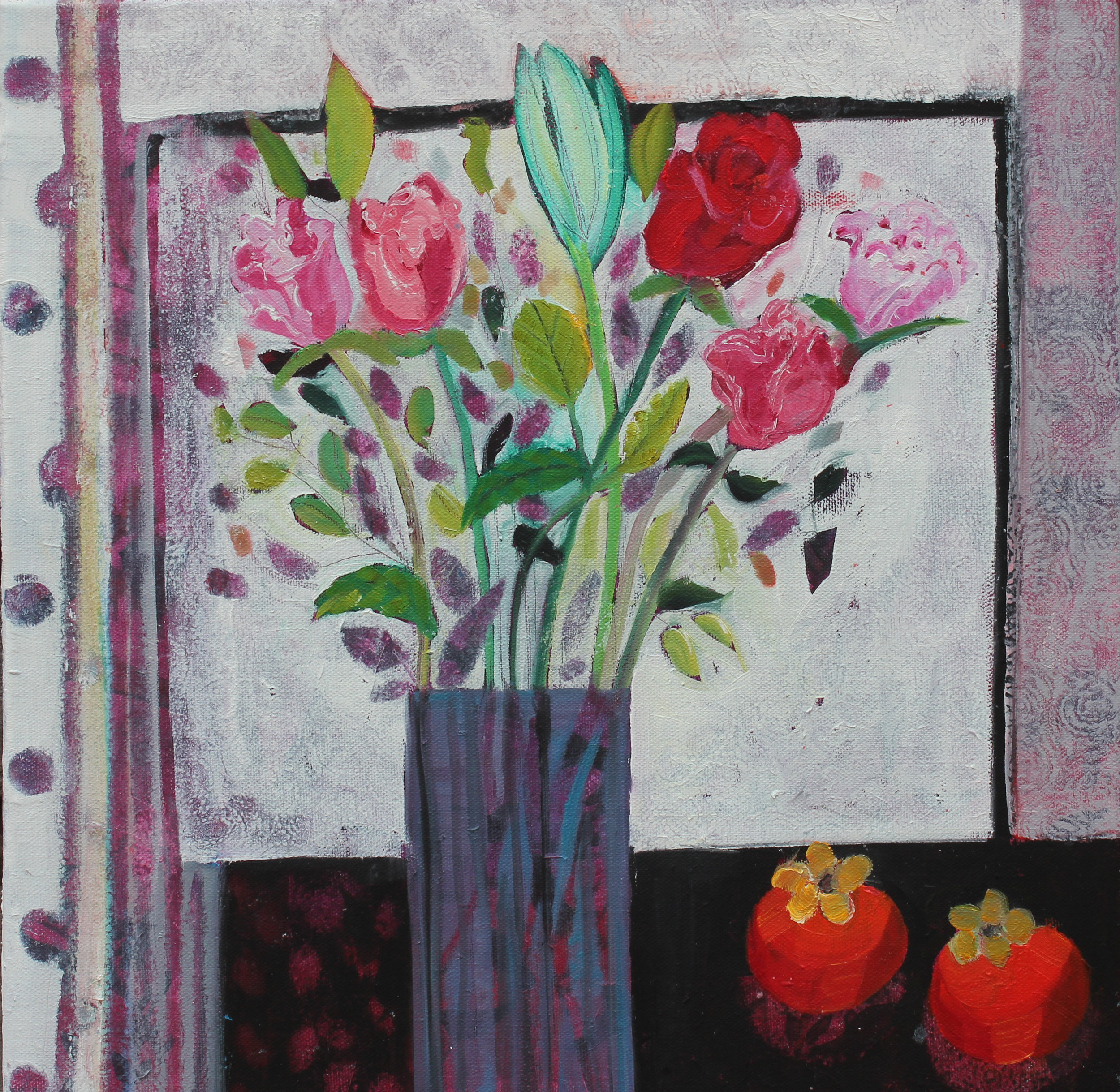 Flowers and Mauve  Oil on canvas  40 x 40cm