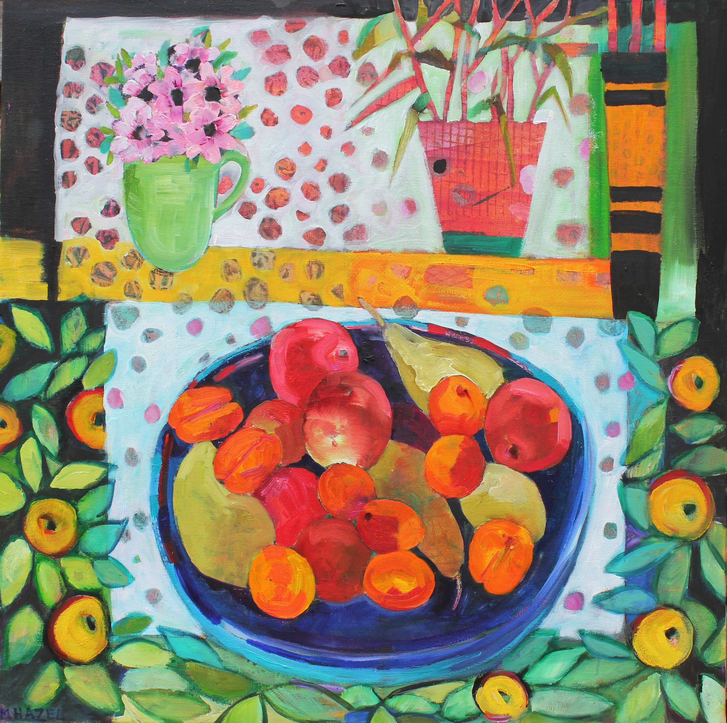 Fruitbowl and Flowers  Oil on canvas  61 x 61cm