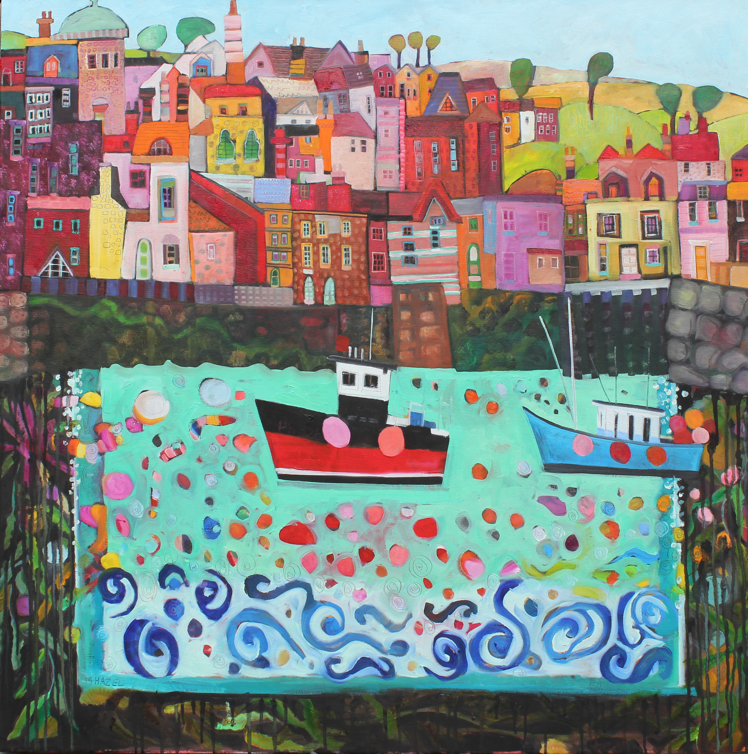 Harbour Happenings  Oil on canvas  92 x 92cm