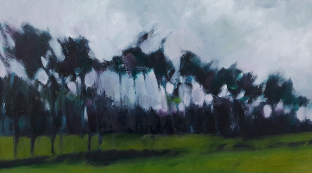 Study of Thetford Trees.  Oil on board.  20 cm x 35 cm  sold