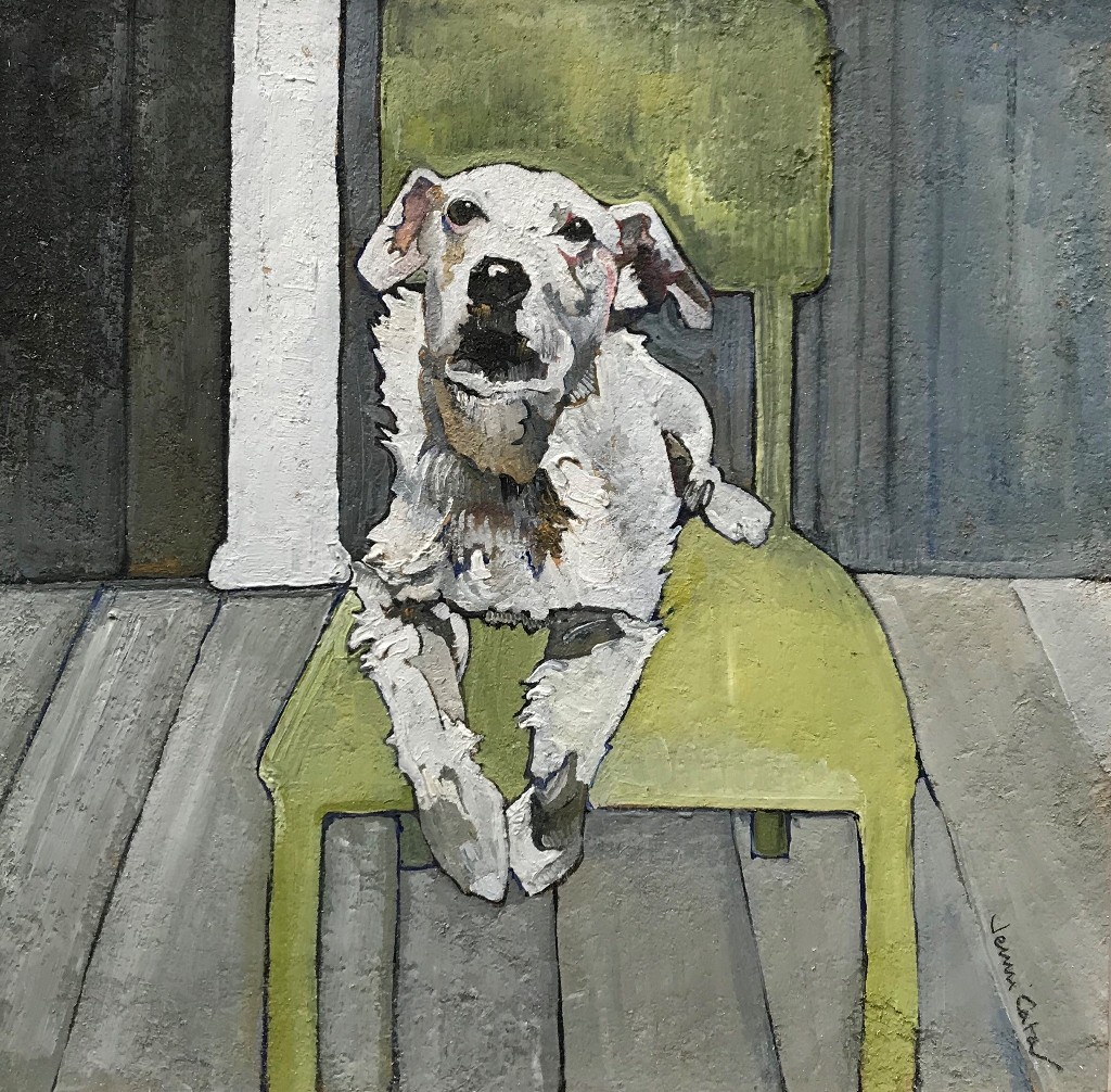Long Haired Jack Russell on Green Chair  oil on board  26 x 26cm  £250