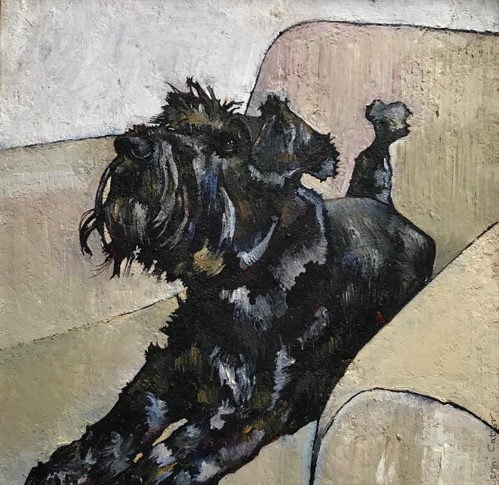 Schnauzer on Cream Chair  oil on board  26 x 26cm  £250