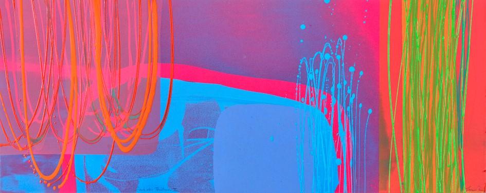 Souk des Teinturiers II, (II/II)   mono print,  acrylic on paper  framed size 53 cm x 113 cm,  sold