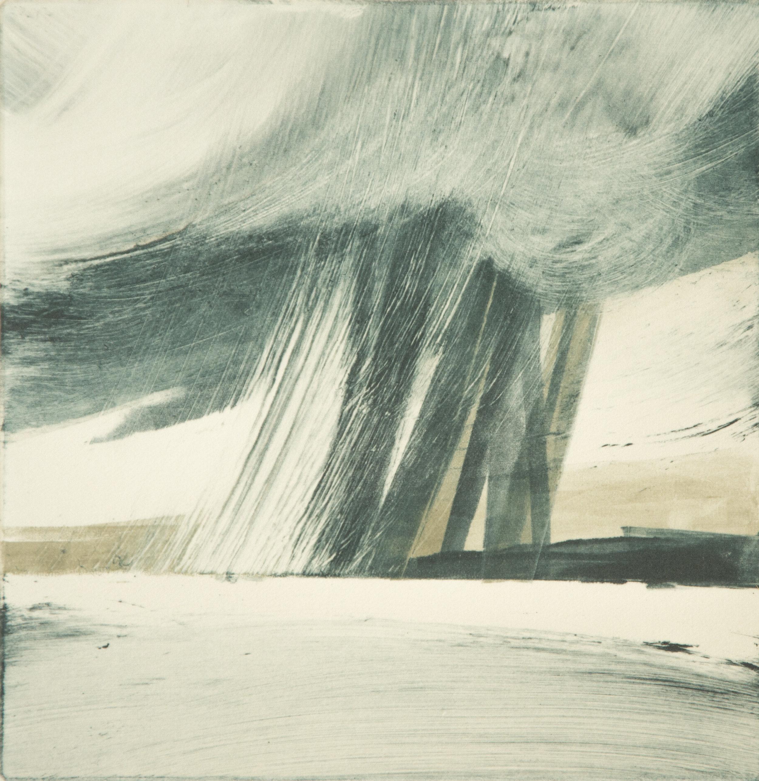 A Perfect Downpour   Monotype , Unique  145mm x 145mm (image only)  £250