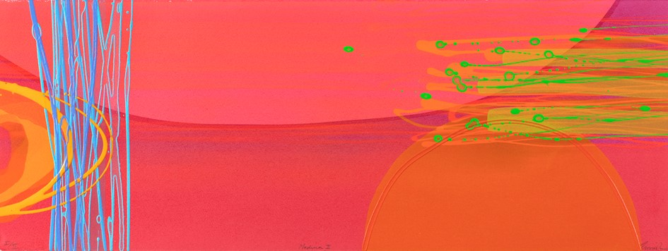 Medina II (I/II)   mono print , acrylic on paper  framed size 43 cm x 93 cm  sold