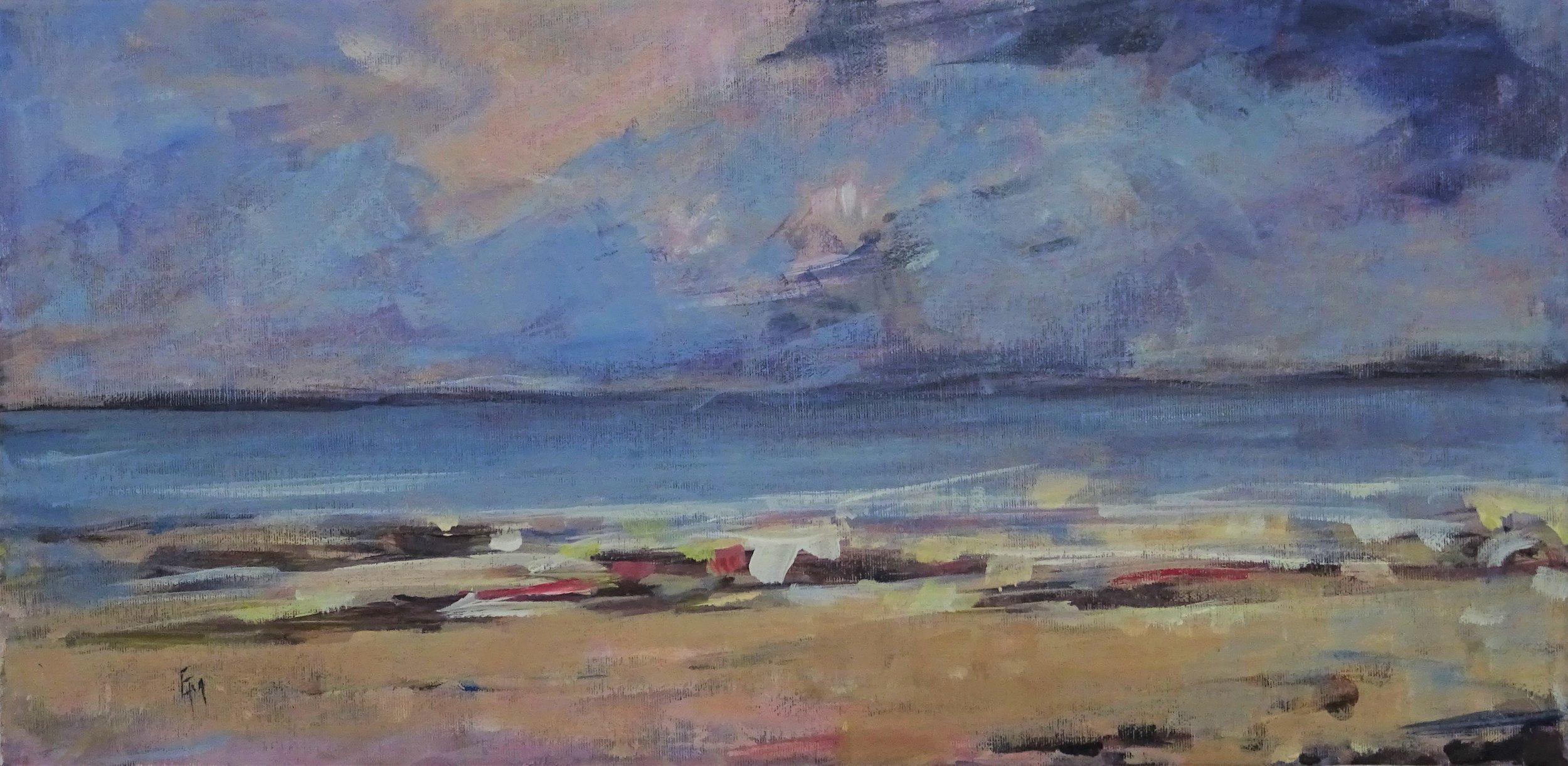 Releasing  acrylic on canvas  66.7 x 36 cm  £380 framed