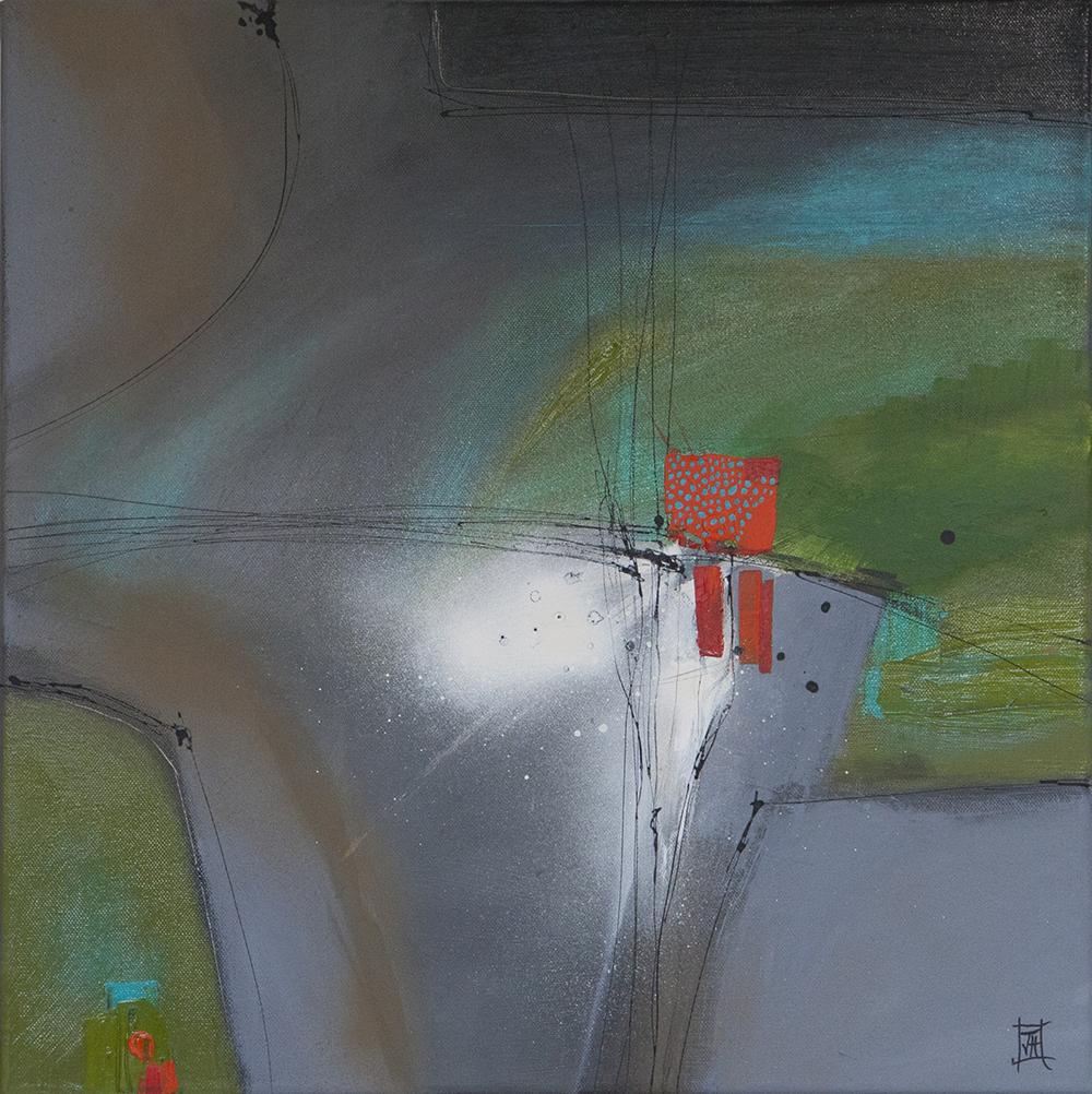 Abstract no3  acrylic on canvas  52cm x 52cm framed  £440