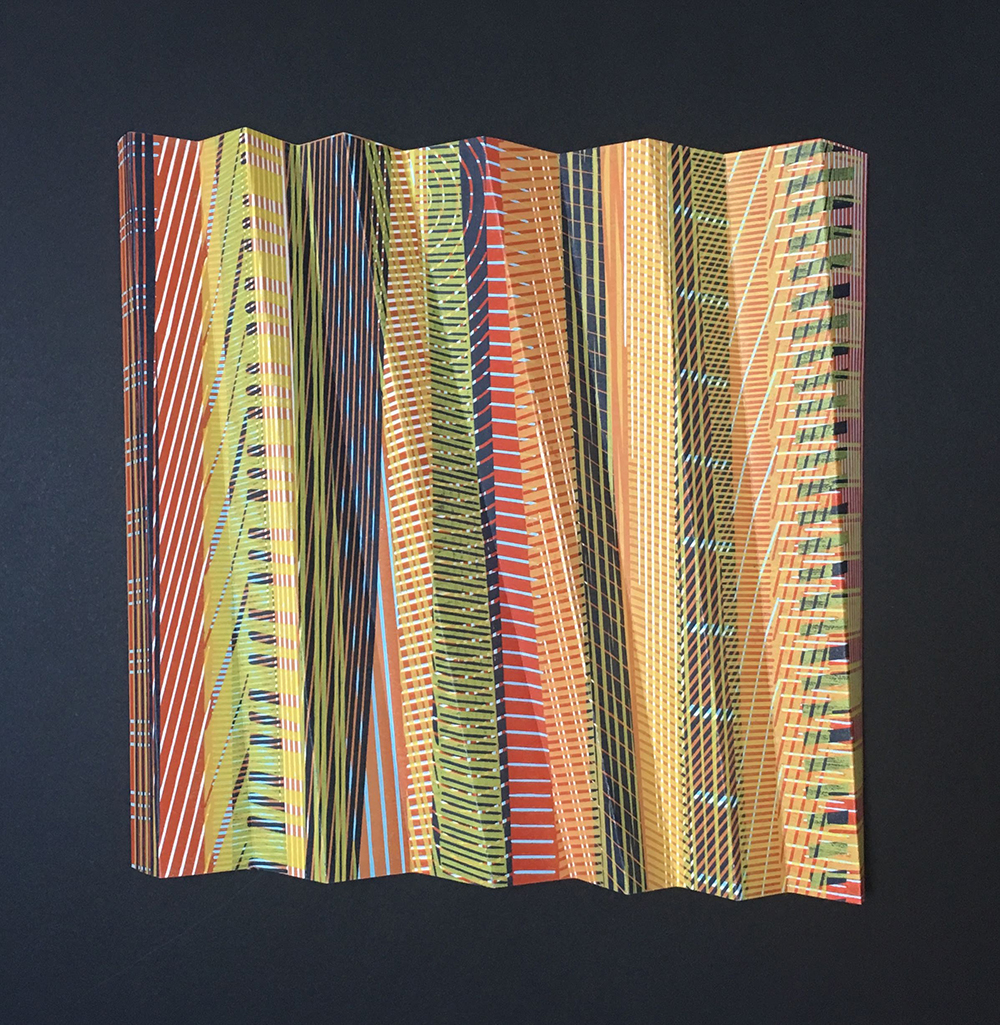 Fault Lines III  Folded reduction linocut  30 x 30 cm  £300