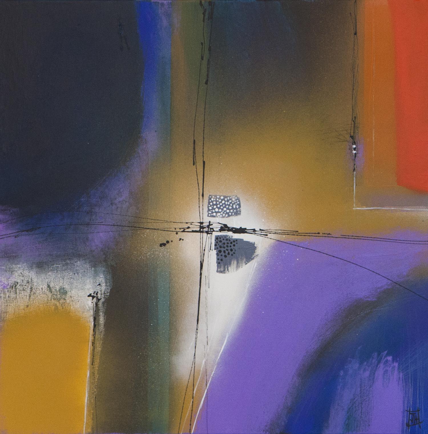 Abstract no6  acrylic on canvas  52cm x 52cm framed  £440