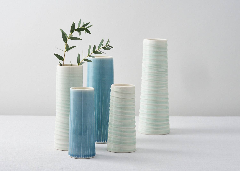 Wave cylinder vases  ceramic  various sizes 10cm x 22.5cm  £40-£80