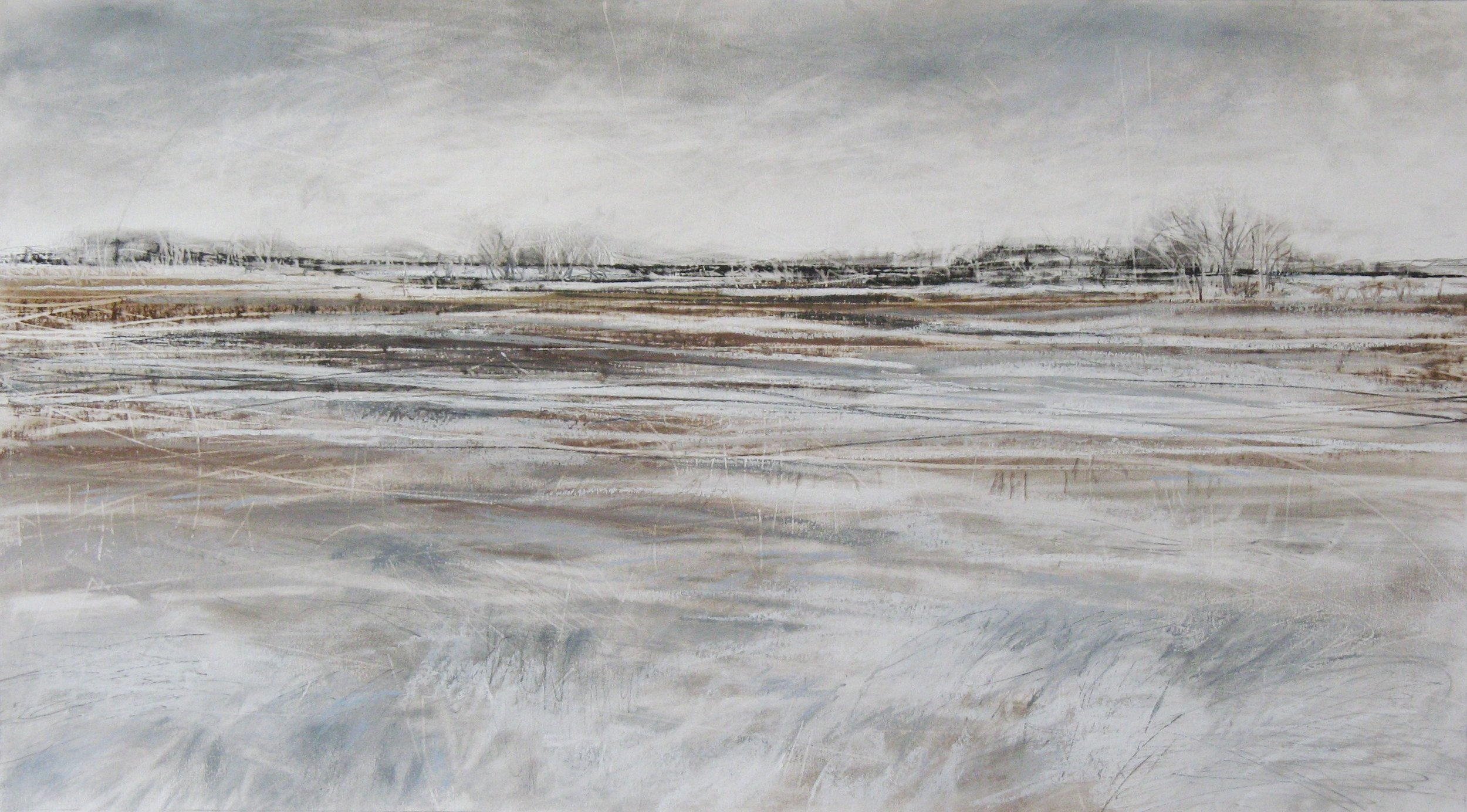 Snow Tracks  Pastel, Charcoal and Graphite on Paper  30 x 54cm  £495