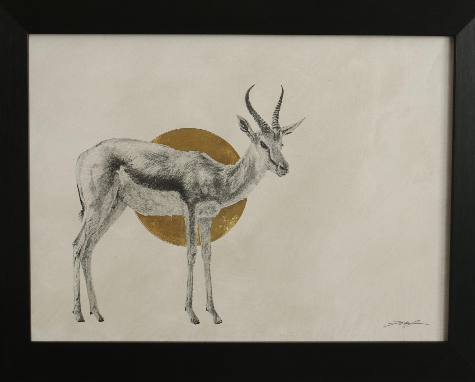 Impala I  Graphite on panel with 24crt gold leaf  31 x 41cm  £750