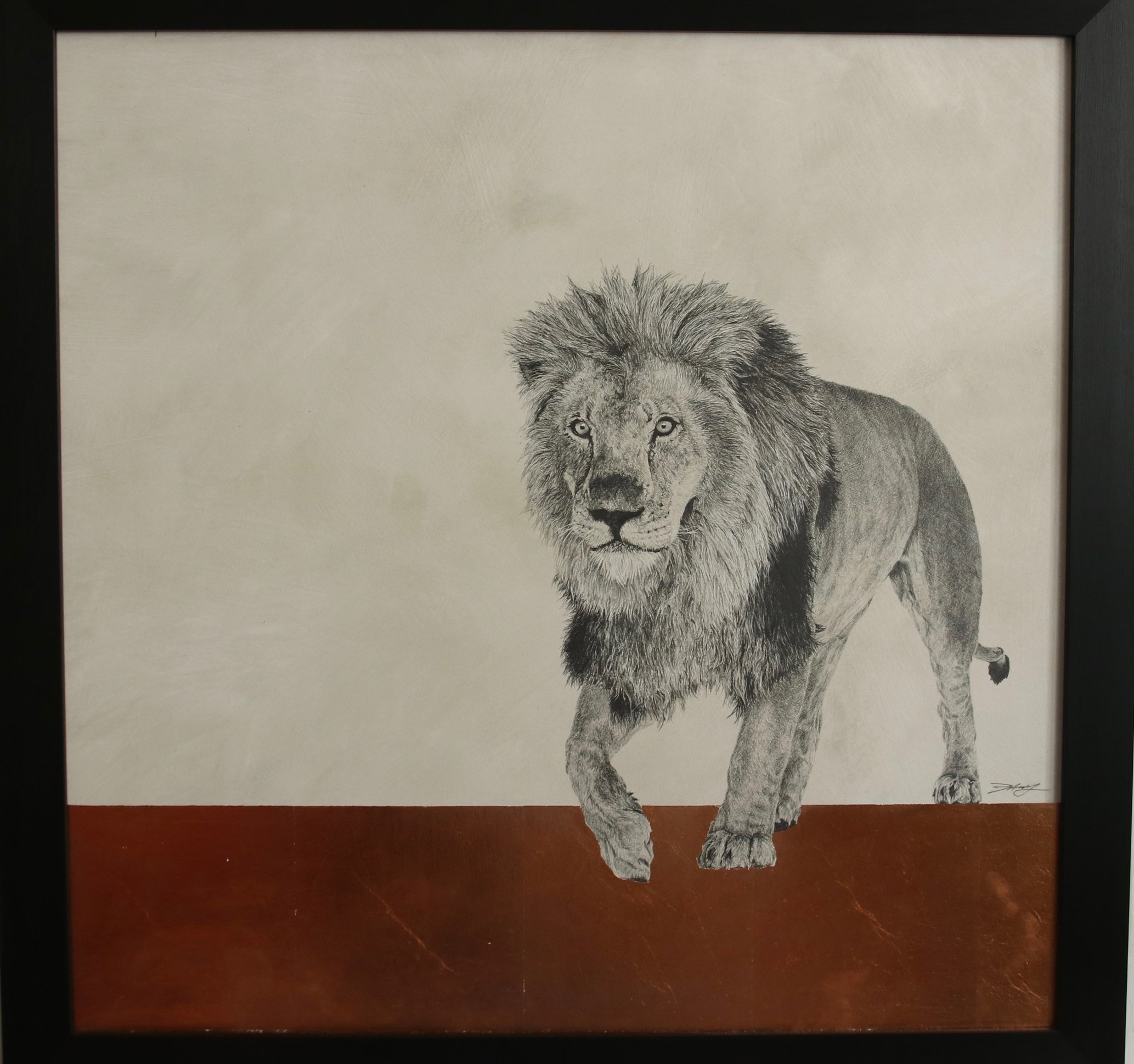 Lion I  Graphite on panel with copper leaf  61 x 61cm  Sold