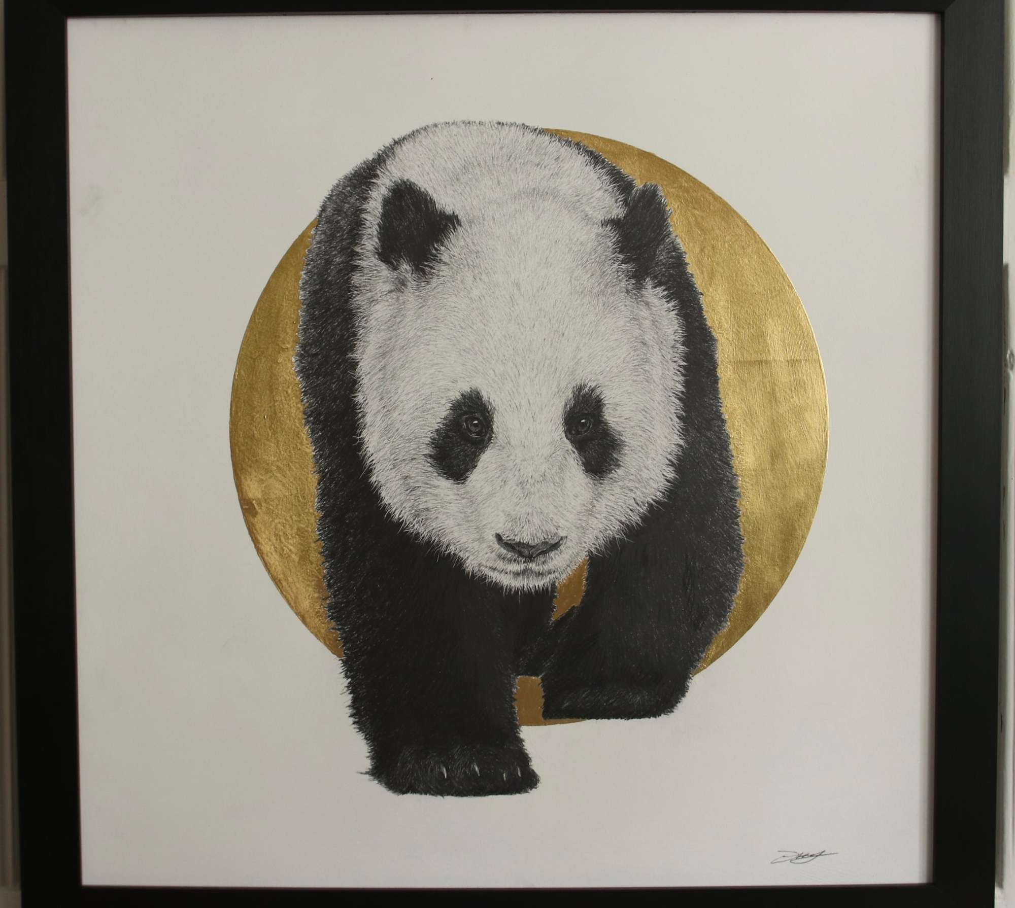 Panda II  Graphite on panel with 24crt gold leaf  61 x 61cm  £1500