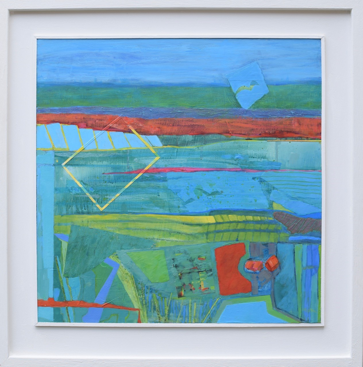 Poppy Field  Mixed media  51 x 51 cm framed  £550