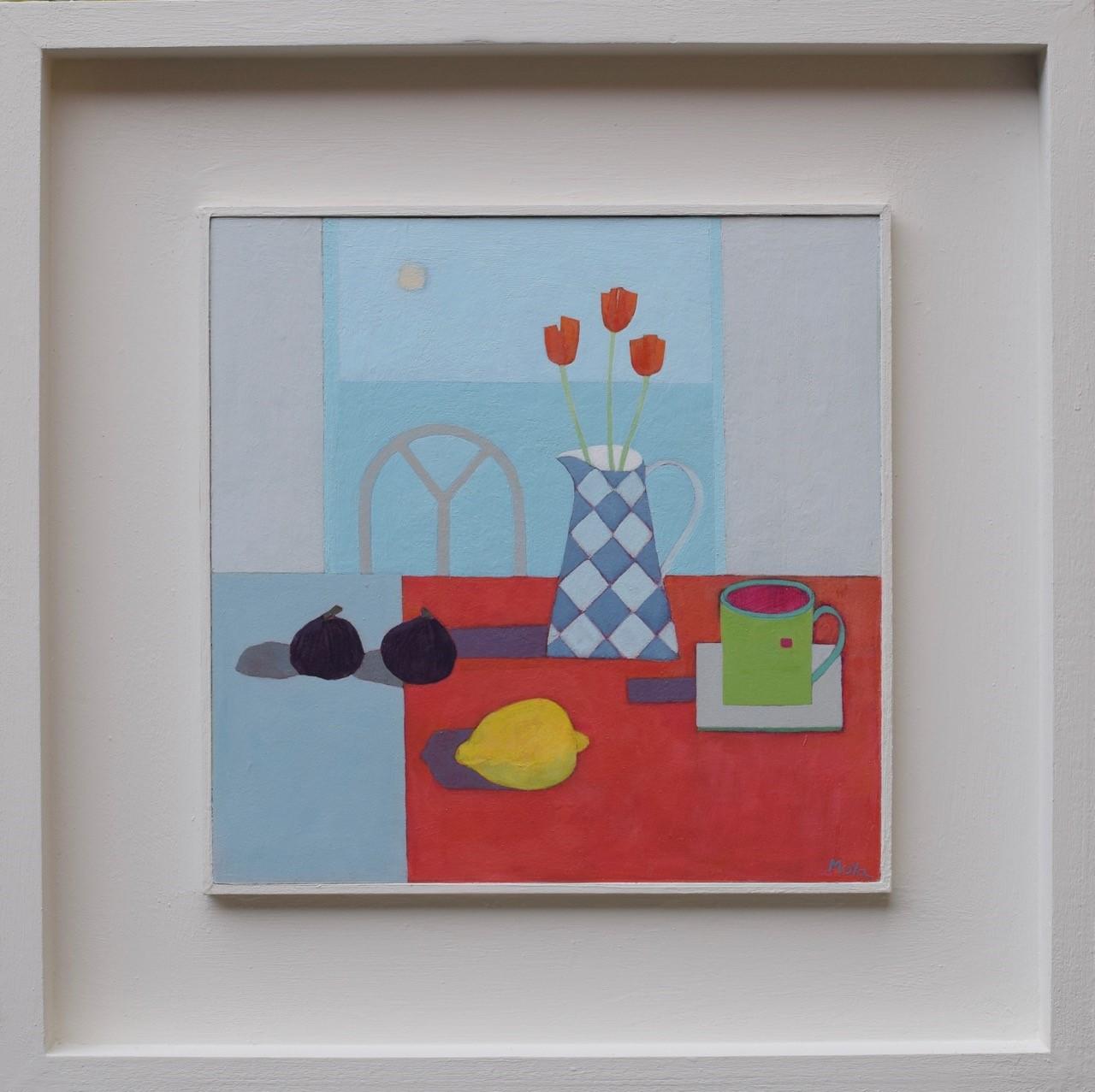 Still Life with Figs  acrylic on board  31.5 x 31.5 cm framed  £495