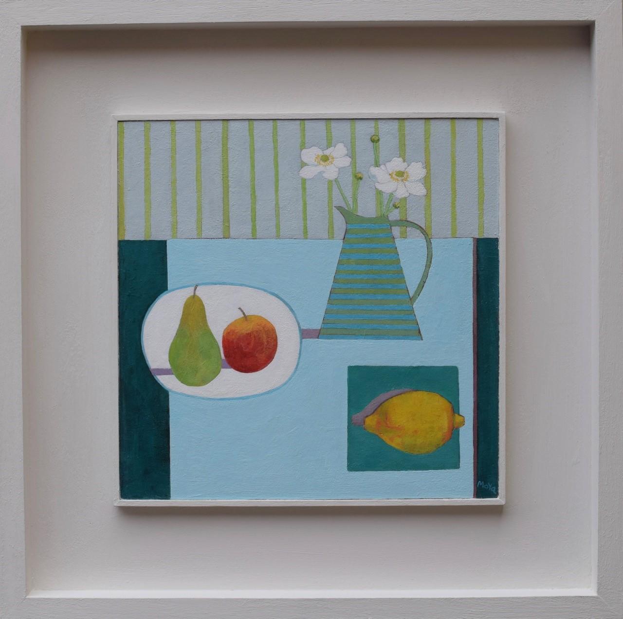 Still Life with Pear  acrylic on board  31.5 x 31.5 cm framed  £495